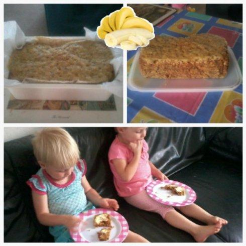 Die meisies geniet mamma se piesangbrood
