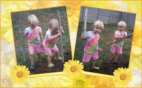 Die meisies help pappa tuin maak