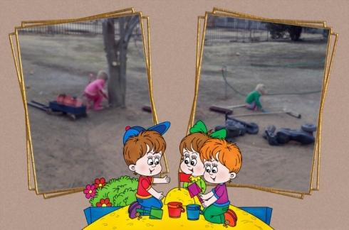 Lala & Bekkie speel in die sand