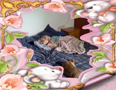 Bekkie en Lala slaap baie lekker