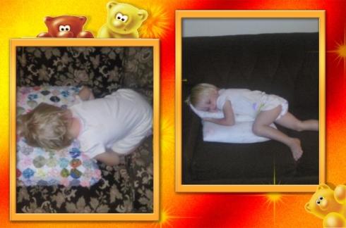 Lala en Bekkie slaap op die sitkamerbanke
