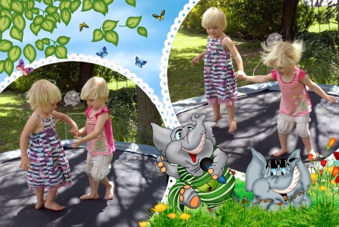 Bekkie en Lala spring trampoline