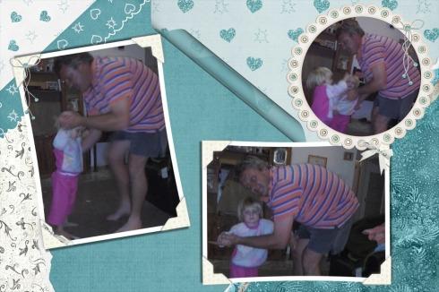 Die meisies dans saam met pappa