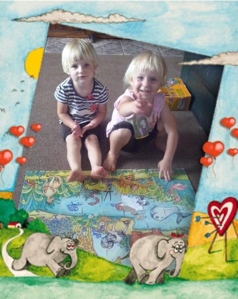 Lala en Bekkie is lief vir legkaarte bou