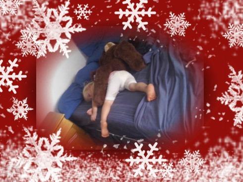 Bekkie slaap saam met haar beer