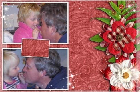 Lala en Bekkie eet pasta saam met pappa