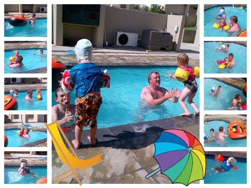 Pa en die kids geniet dit in sy werkgewer se swembad!